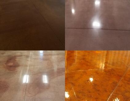 Concrete staining in various colors