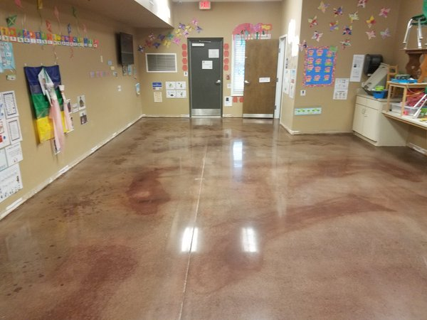 Stained and polished concrete for classrooms