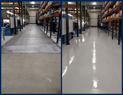 Concrete refinishing with urethane before and after