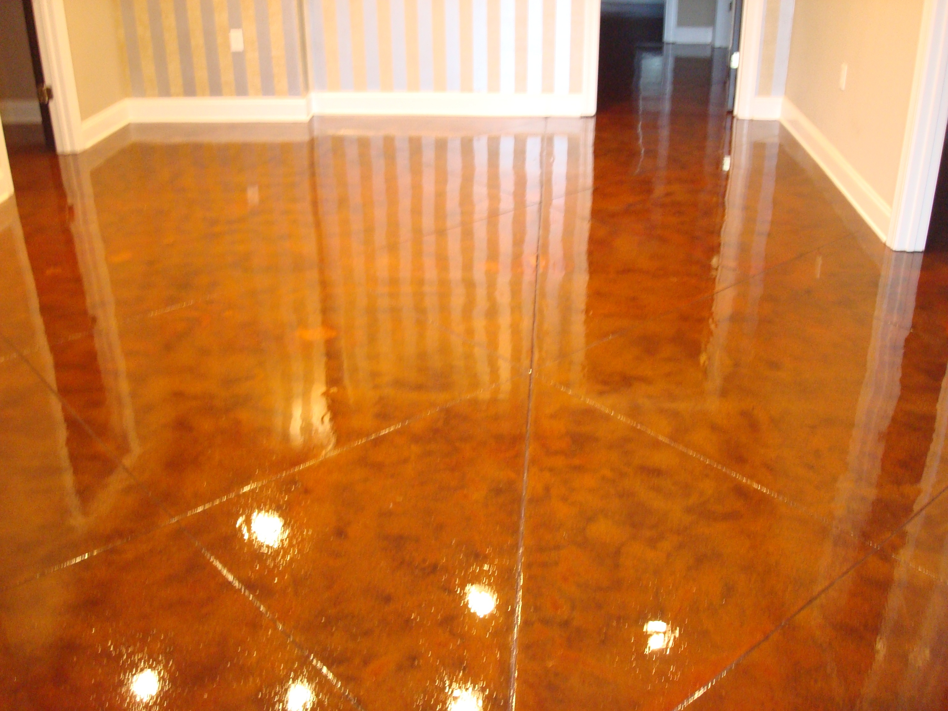 stained concrete floor with decoration