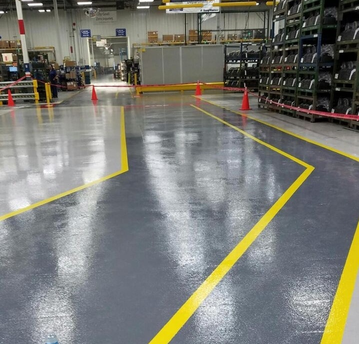 epoxy floor with line striping in warehouse